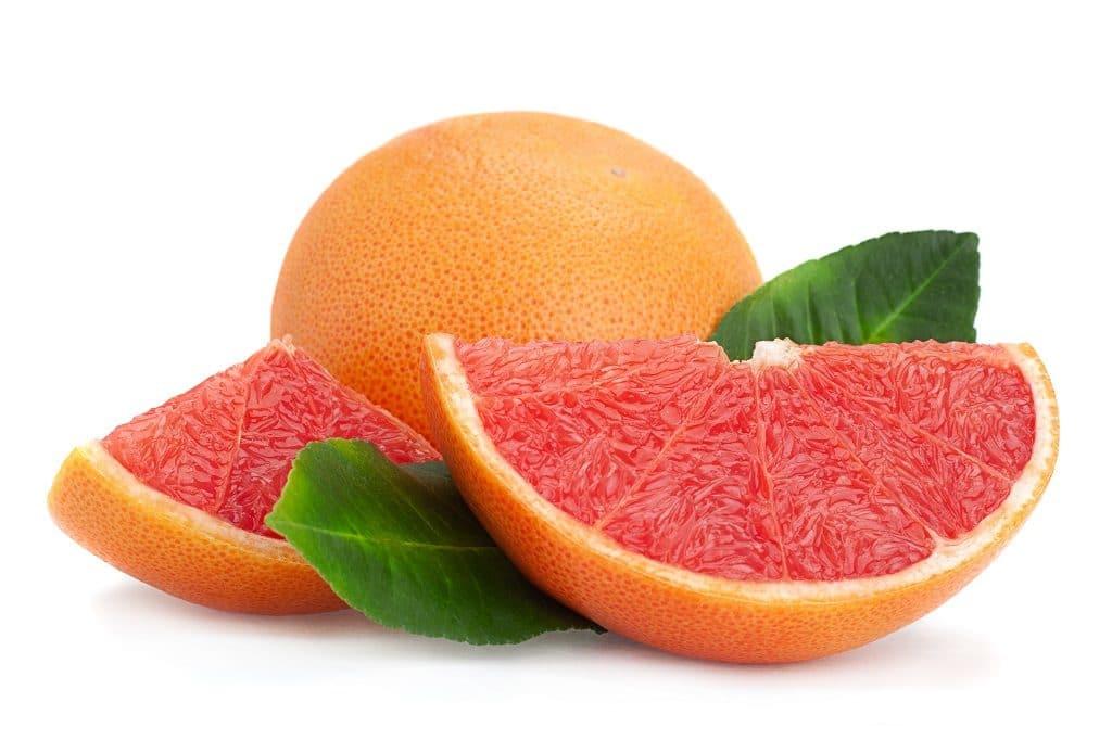 Grapefruit mit Blatt